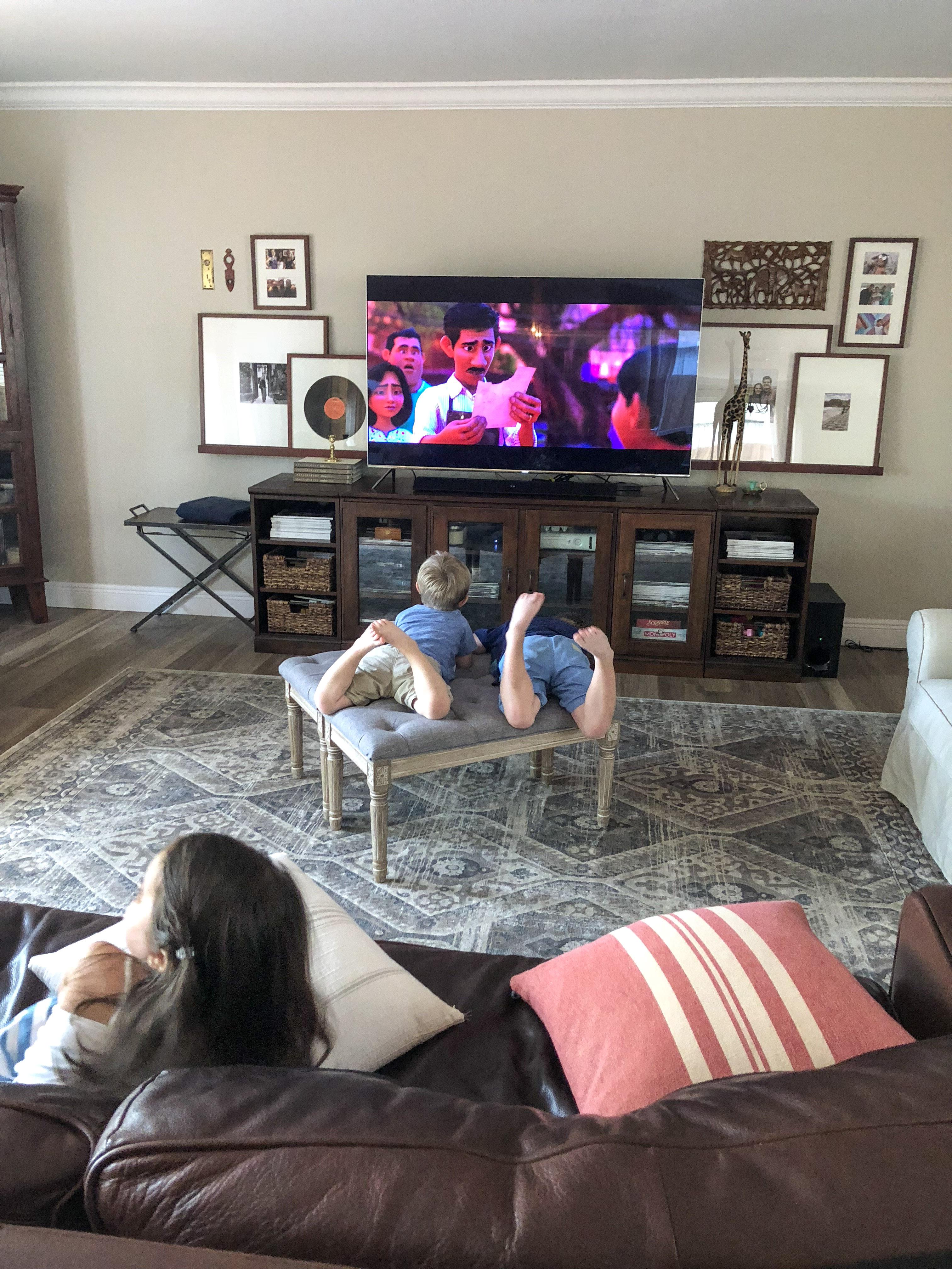 Kids watching Coco